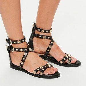 black flat gold stud gladiator sandal